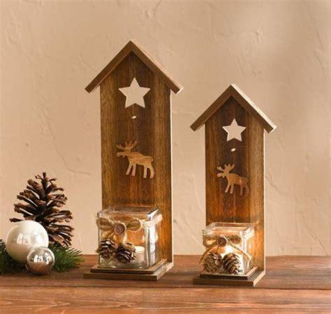 kerzenhalter weihnachten 2er windlicht winterelch holz glas kerzenhalter
