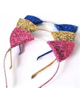 glitter kitty cat ears headband halloween fancy dress cat