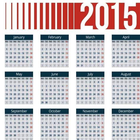 desain kalender 2015 gratis 2015 kalender dengan header vektor merah dengan blok biru
