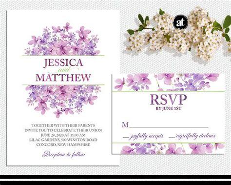 printable invitation wedding kit lilac floral wedding invitation kit or printable by
