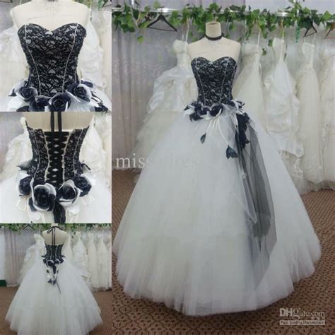 vintage black and white gothic wedding dresses lace ball