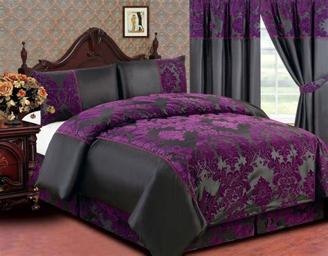 purple bedding and curtains bedroom gray and dark purple king size bedding set feat