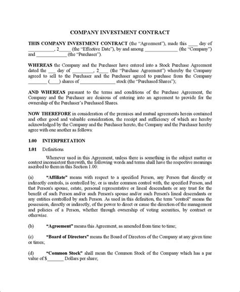 investor financing agreement template 11 investment contract templates pdf doc free