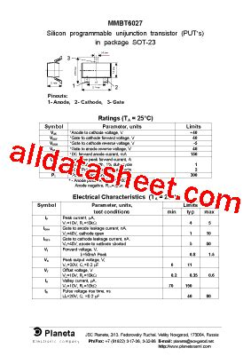 transistor equivalent list free mmbt6027 datasheet pdf list of unclassifed manufacturers