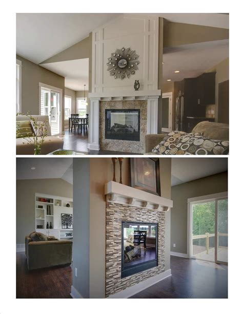 Two Sided Fireplace Idea Muston Construction Inc For Sided Fireplace Design