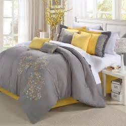 grey and yellow yellow and gray bedding that will make your bedroom pop