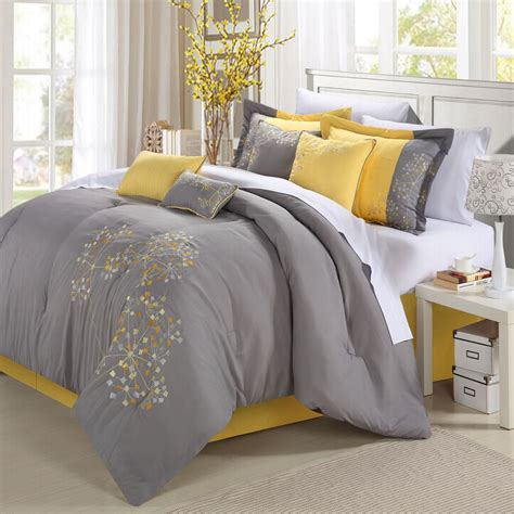 grey bed comforters yellow and gray floral bedding myideasbedroom com