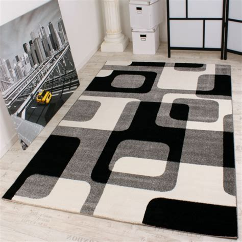 teppich weiß schwarz wohnzimmer design teppich