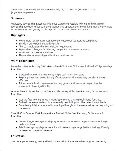 sponsorship resume template professional sponsorship executive templates to showcase