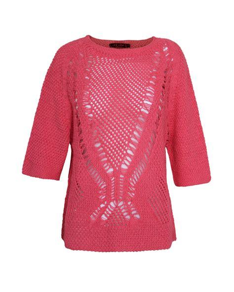 knitting pattern holey jumper ladies women crew neck batwing short sleeve holey knit