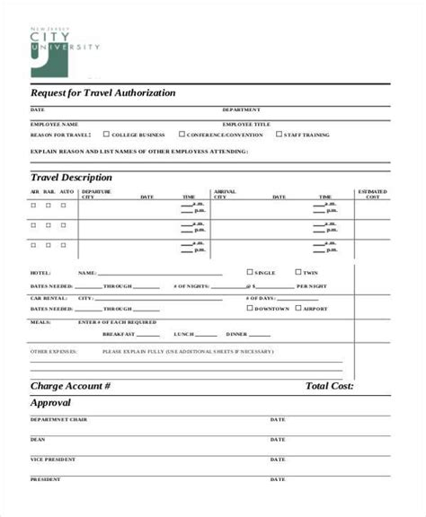 travel authorization form template authorization form templates