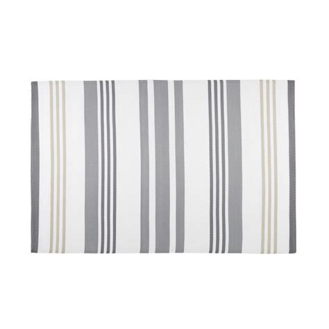 Grey And White Outdoor Rug Rivage Grey And White Striped Fabric Outdoor Rug 180 X 270 Cm Maisons Du Monde