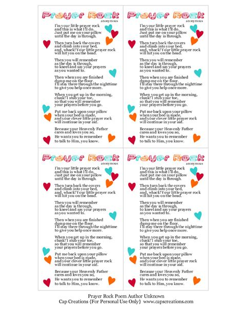 Cap Creations: Prayer Rock Poem Printable