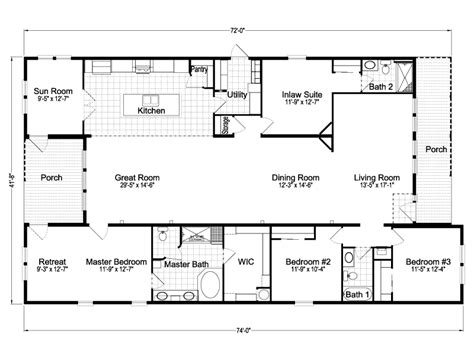 Ranch House Floor Plans With Basement by Casita Iii Tl42744a Manufactured Home Floor Plan Or