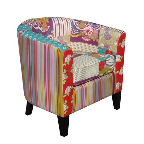 Patchwork Chairs Uk - foxhunter patchwork tub chair fabric vintage armchair seat