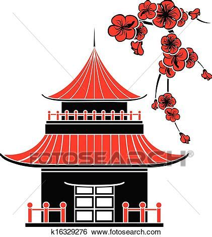 clip art  asian house  cherry blossoms