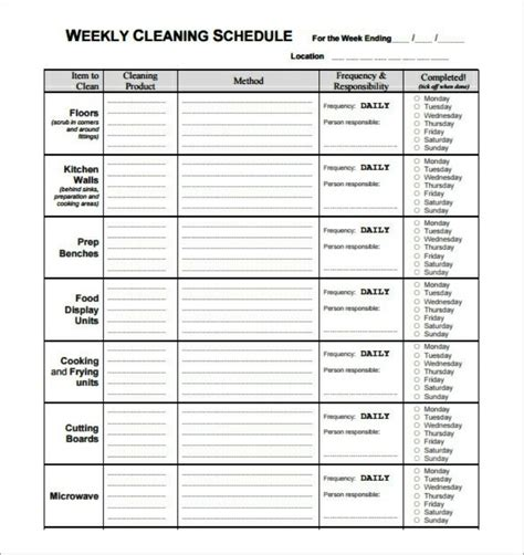 cleaning calendar template basic weekly restaurant cleaning schedule template