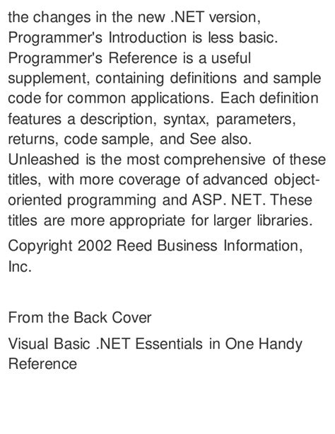 basic programming essentials learn the basics of batch html c g and m code and arduino programming books visual basic net programmer s reference 3rd edition