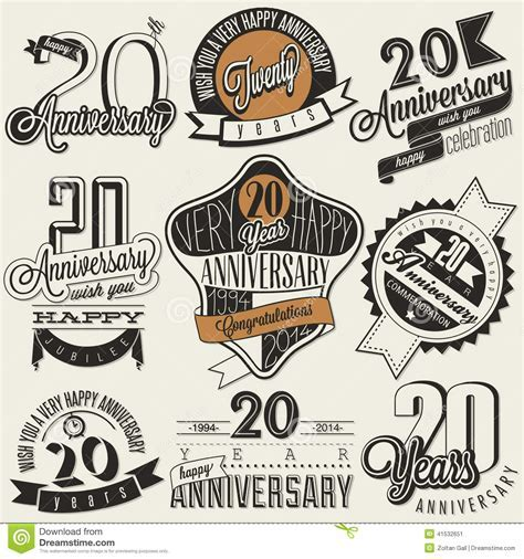 Vintage 20 Anniversary Collection. Stock Vector   Image