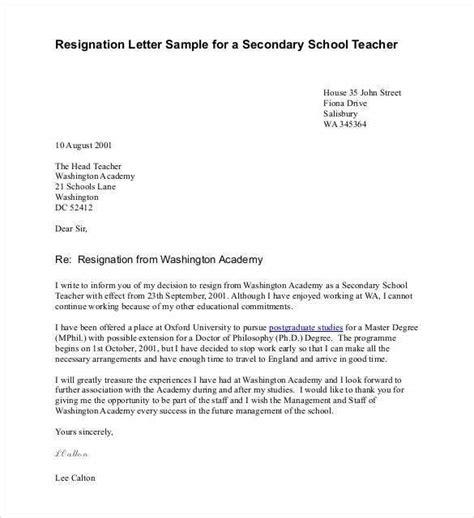 teacher resignation letter templates