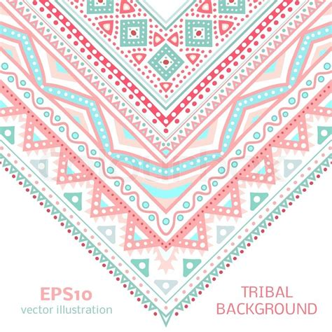tribal pattern pink and blue tribal ethnic corner pattern vector illustration for your