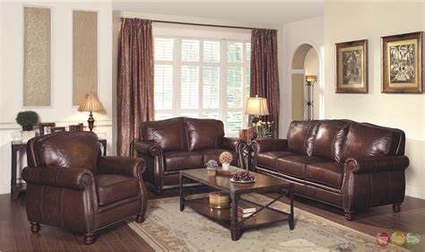 Real Leather Sofa Sets Montbrook Traditional Brown Genuine Leather Sofa Set Rolled Arms Nail Trim