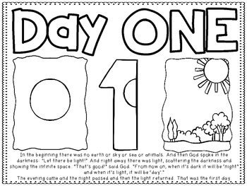 7 Days of Creation Story Boards and Coloring Sheets by