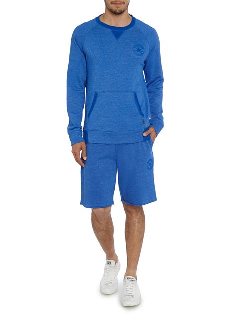 Raglan Converse Blue converse crew neck raglan front pocket sweatshirt in blue