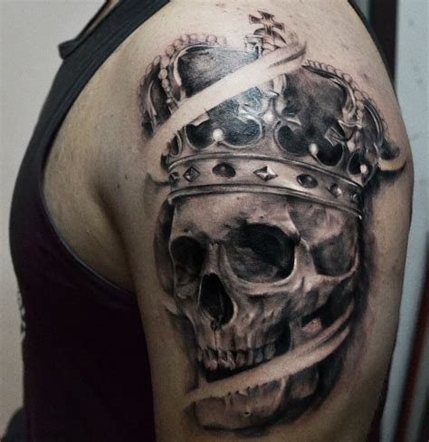 skull with crown tattoo skull crown artist pedro m 252 ller