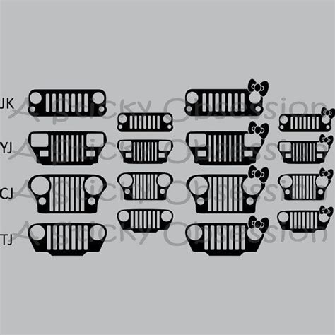 jeep grill sticker jeep wrangler grill family decal sticker by