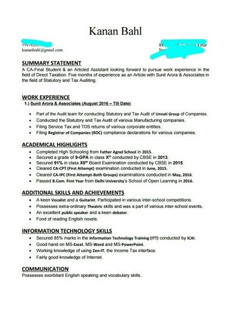 Sle Resume For Articleship ca articleship resume 28 images ca articleship resume format resume format sle resume