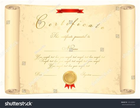 scroll certificate completion template parchment paper