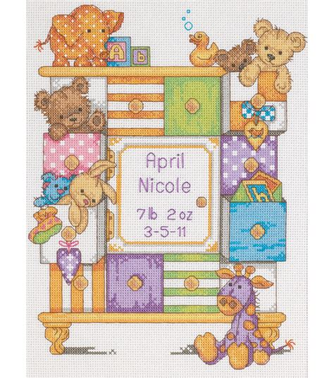 Cross Stitch Baby Birth Record Dimensions Baby Hugs Baby Drawers Birth Record Counted Cross Stitch Kit Jo