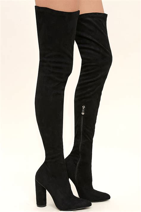 black thigh high boots vegan suede thigh high boots