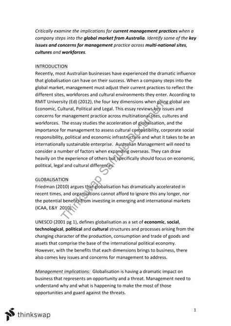 Globalization Essay Introduction by Globalisation Essay Assignment 1 Busm4176 Introduction To Management Thinkswap