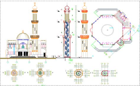 the layout and features of a mosque mosque layout plan detail view dwg file