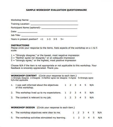 workshop evaluation form 11 free samples examples format
