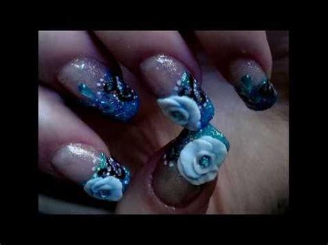 3d nail art tutorial youtube blue glitter video nail art tutorial 3d acrylic flower
