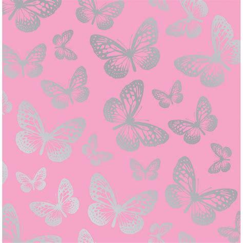 Bathroom Borders Ideas by Fine Decor Fun4walls Butterfly Metallic Wallpaper Pink