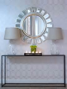 Entryway Table With Mirror Eclectic Entry With Glass Ls And Bold Mirror Hgtv
