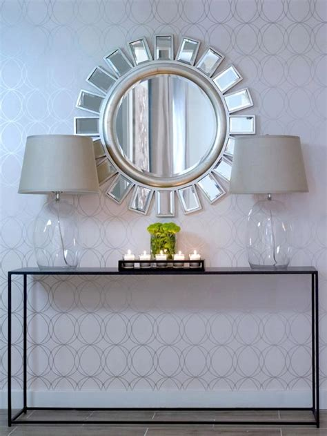 entry way mirror eclectic entry with glass ls and bold mirror hgtv