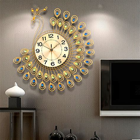 living room clock usa creative metal gold peacock large wall clock living