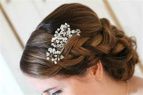wedding hair with gypsophila swarovski bridal comb beaded wedding comb gypsophila