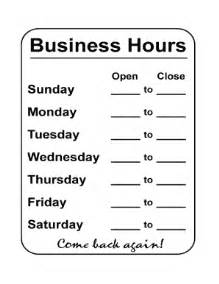 Printable Business Hours Sign Template by Free Sign Templates Printable Fill Printable