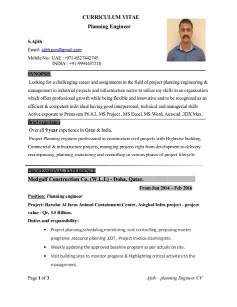 planning engineer cv with 9 yrs experience 1