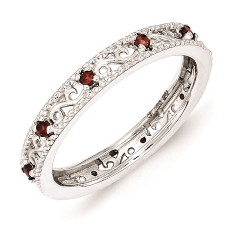 carinagems sterling silver stackable ring garnet birthstones
