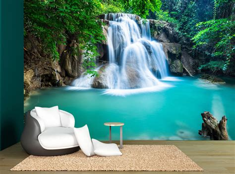 pretty wall murals waterfall green nature pretty wall mural photo wallpaper wall decor 163 55 57 picclick uk