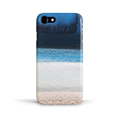 design photo case ocean beach phone case design in blue white and brown by