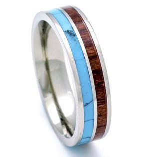 Pch Jewelers - pch jewelers titanium hawaiian koa wood and turquoise inlay wedding band ring 6mm