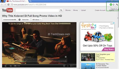 song repeat auto repeat in chrome youturn techdows